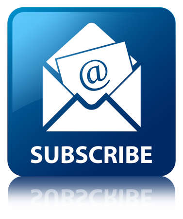 Subscribe  newsletter email icon  glossy blue reflected square button photo