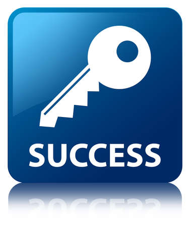 Success  key icon  glossy blue reflected square button photo