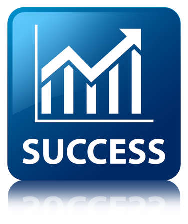 Success  statistics icon  glossy blue reflected square button photo