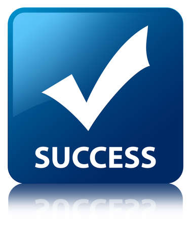 Success  validate icon  glossy blue reflected square button photo