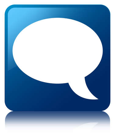 chat online: Talk bubble icon glossy blue reflected square button
