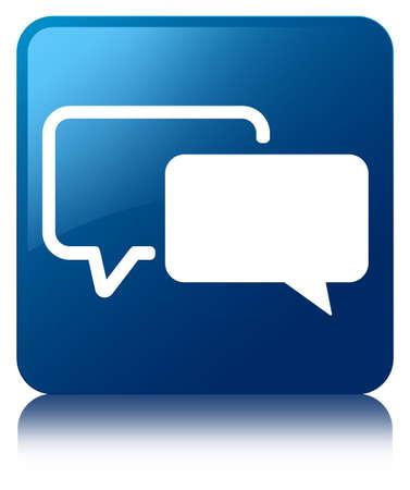 Vierkante knop getuigenissen pictogram glanzend blauw gereflecteerd