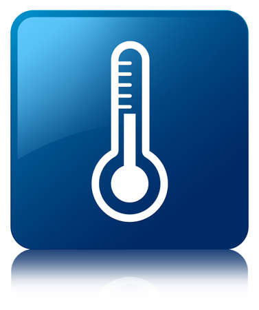 Thermometer icon glossy blue reflected square button Stock Photo - 22231143