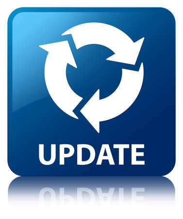Update  refresh icon  glossy blue reflected square button