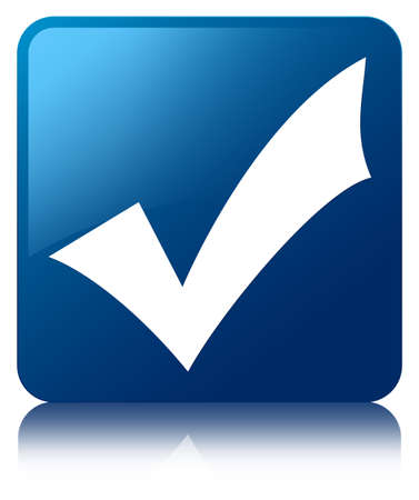 valid: Validation icon glossy blue reflected square button