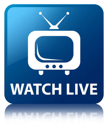 Watch live  tv icon  glossy blue reflected square button photo