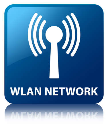 Wlan network glossy blue reflected square button photo