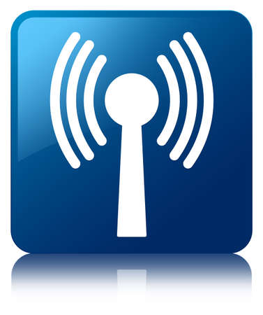 Wlan network icon glossy blue reflected square button photo