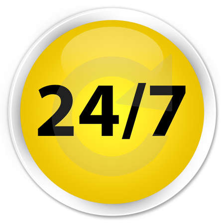 24 7  recycle icon  glossy yellow button photo