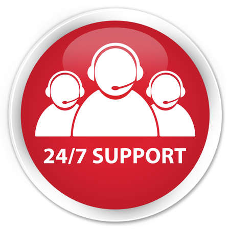 24: 24 7 Support  customer care team icon  glossy red button