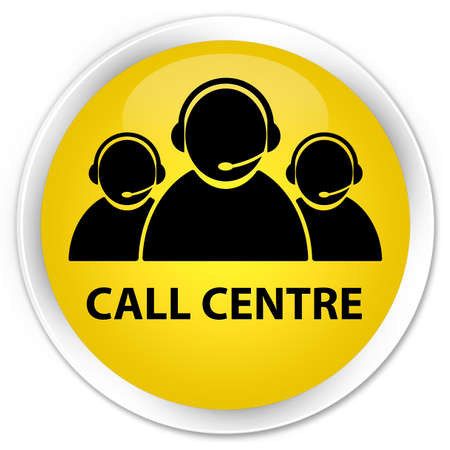 Call centre  customer care team icon  glossy yellow button photo