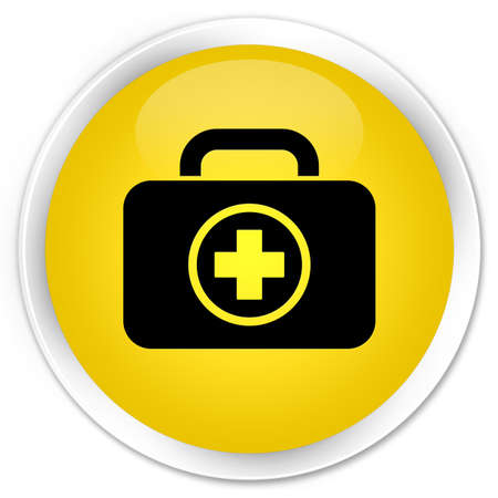 First aid kit bag icon glossy yellow button photo
