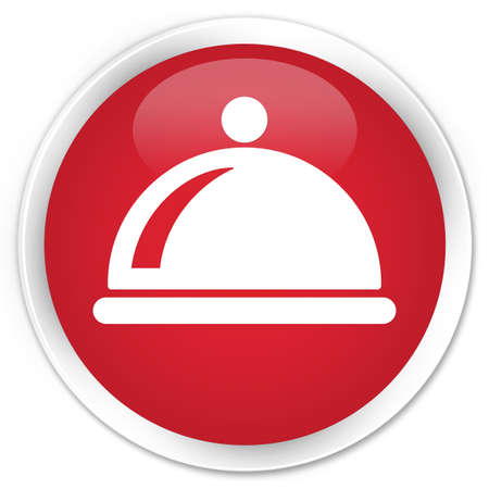 Food dish icon glossy red button photo