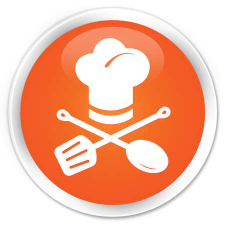 catering service: Food menu icon glossy orange button
