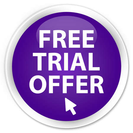 Free trial offer  cursor icon  glossy purple button photo