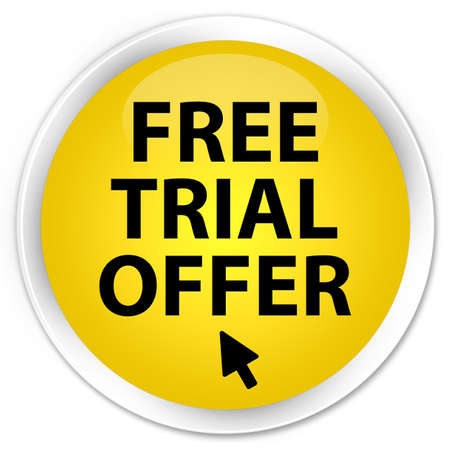 Free trial offer  cursor icon  glossy yellow button photo