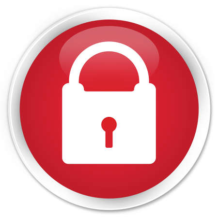 Lock icon glossy red button photo