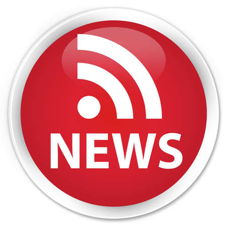 News  rss icon  glossy red button Stock Photo