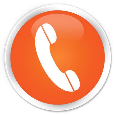 Phone icon glossy orange button photo