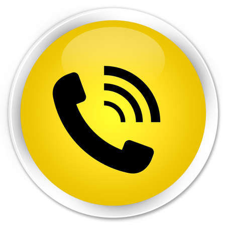 Phone ringing icon glossy yellow button photo