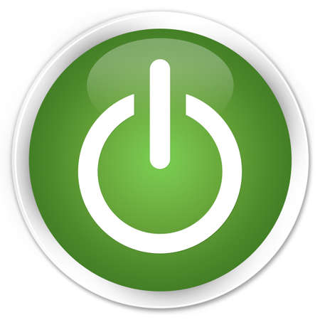Power icon glossy green button photo