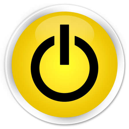 Power icon glossy yellow button photo