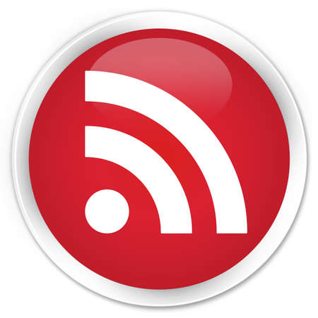 rss feed icon: RSS feed icon glossy red button Stock Photo