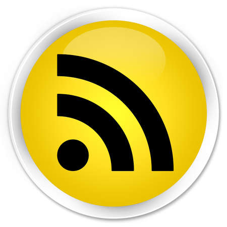 rss feed: RSS feed icon glossy yellow button Stock Photo