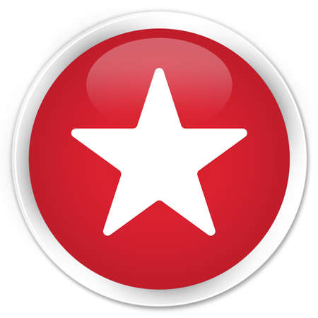 Star icon glossy red button photo