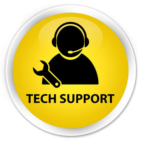 Tech support glossy yellow button photo