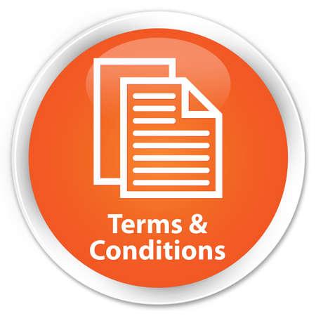 Algemene voorwaarden icoon glanzende oranje knop Stockfoto