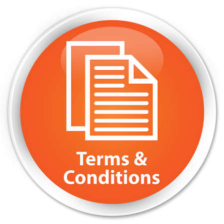 Terms   conditions icon glossy orange button photo