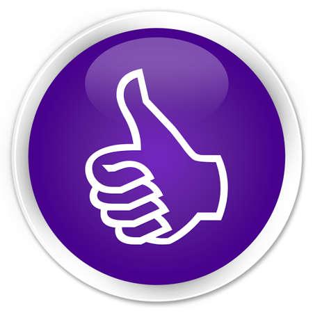 thumbs up icon: Pulgar hacia arriba icono bot�n de color p�rpura brillante