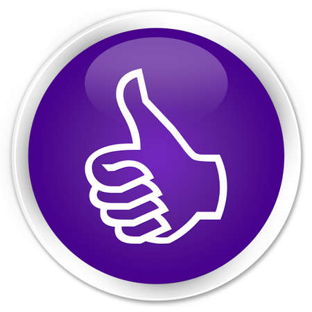 Thumbs up icon glossy purple button photo