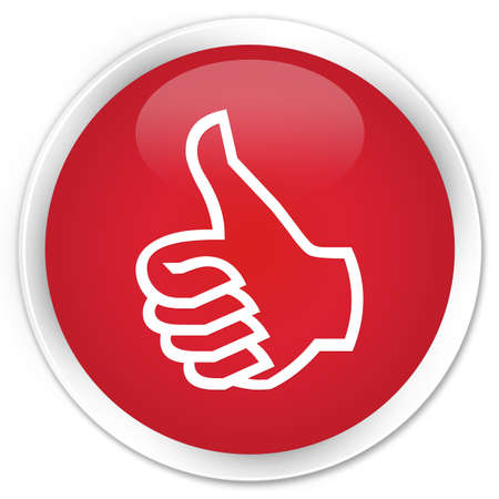 Thumbs up icon glossy red button photo