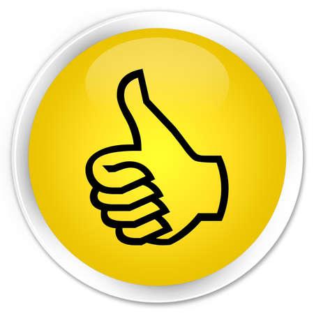 thumbs up icon: Pulgar hacia arriba icono bot�n amarillo brillante Foto de archivo