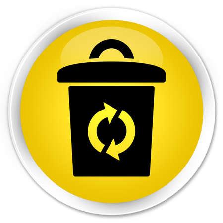 Trash icon glossy yellow button photo