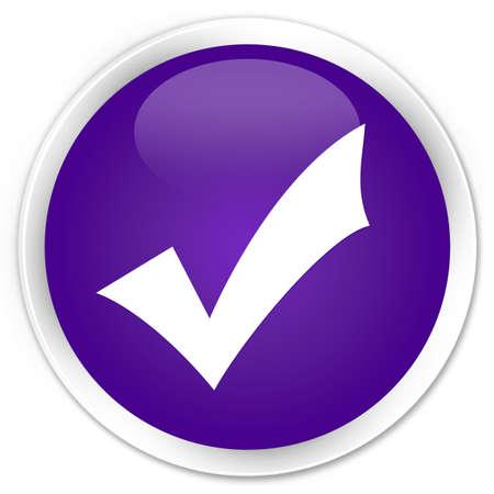 Valideren pictogram glanzend paarse knop Stockfoto