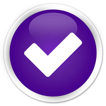 Validation icon glossy purple button
