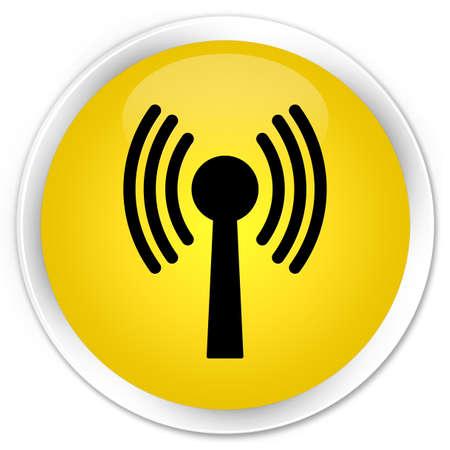 wlan: Wlan network icon glossy yellow button Stock Photo