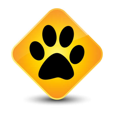 Animal footprint icon yellow diamond button photo
