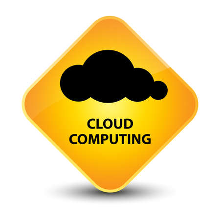 Cloud computing yellow diamond button photo