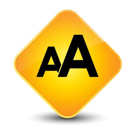 Font size icon yellow diamond button Stock Photo