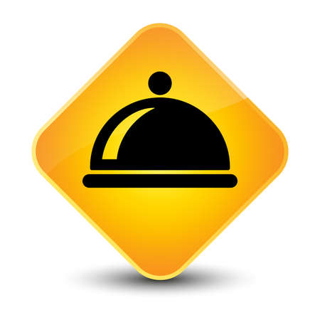 Food dish icon yellow diamond button photo