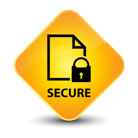 encrypted files icon: Secure document yellow diamond button