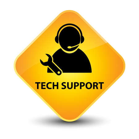 Tech support yellow diamond button photo