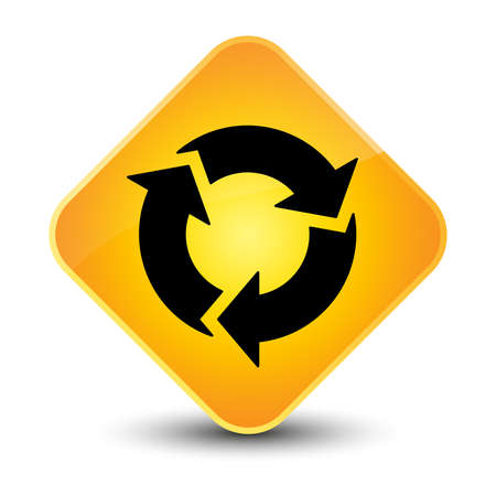 Refresh icon yellow diamond button photo