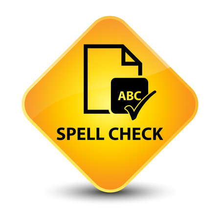 Spell check document yellow diamond button photo