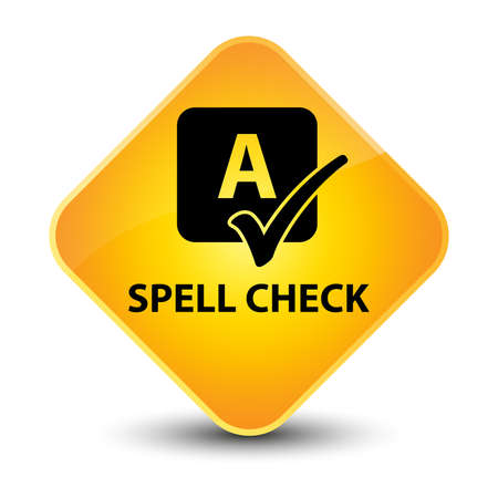 Spell check yellow diamond button photo