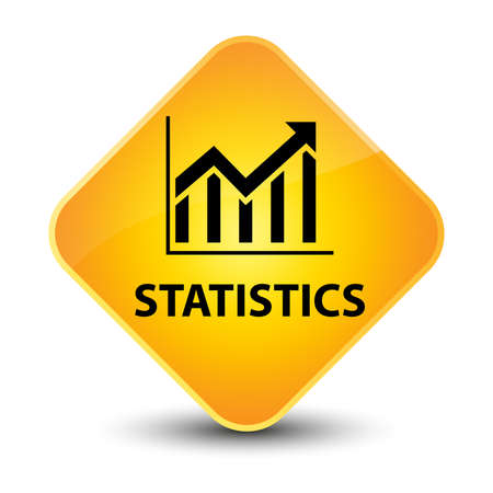 Statistics yellow diamond button photo